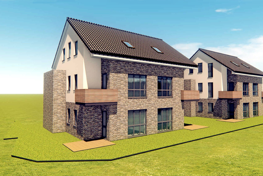 Dieses Mehrfamilienhaus mit 4 Wohnungen errichtet Real Immobilien in Kürze in Veenhusen am Feldweg. Das rechte Gebäude ist bereits an einen Anleger verkauft worden, das linke kann noch erworben werden. Die Zwei-Zimmer-Wohnungen im Erdgeschoss eignen sich perfekt für Singles die Maisonette-Wohnungen im OG und DG für junge Paare. Auf Basis der ortsüblichen Mieten gerechnet, lässt sich in diesem Objekt eine Rendite von etwa 3,6 % erwarten.